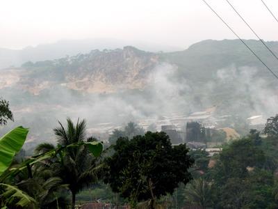 Traditional limestone quarying in Padalarang Bandung